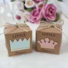 50X Little Prince or Princess Kraft Paper Candy Box Baby Shower Party Gift Favor