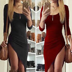 Womens Solid Long Sleeve Bodycon Evening Party Cocktail Dress Asymmetrical Hem