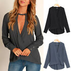 Fashion Ladies Summer V Neck Chiffon Top Long Sleeve Loose Casual T Shirt Blouse