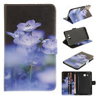 Fashion Blue Floral Flip Magnetic PU Leather Cards Stand Cover Case For Tablets