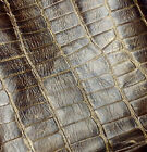 EMB45 Leather Cow Hide Cowhide Craft Fabric Brown & Gold Embossed Turtle