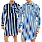 Mens Traditional Nightshirt Flannel PJ Pyjama Night Shirt Wear Pyjamas Cotton