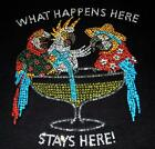 WHAT HAPPENS HERE STAYS HERE Rhinestone crystal tee shirt -PLS SIZE