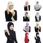 Women Lace Floral Muslim Long Shawl Islamic Ethnic Headwear Wrap Scarf Headdress