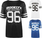 New Womens Brooklyn 96 Usa Athletics Print Short Sleeve Baggy Top Ladies T-Shirt
