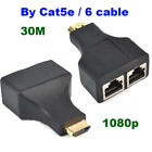 HDMI Calbe Up to 70ft Dual RJ45 LAN Ethernet HDMI Extender Repeater Adapter US