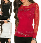 Women's Jumper Lace Sleeves Sparkle Rhinestone Pullover Sweater Top UK 8/10