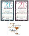AGE 21 - 21st BIRTHDAY Party Invitations & Envelopes Boy Male Girl Female Invite