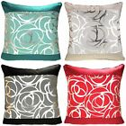 "SKYE METALLIC CUSHION COVERS FAUX SILK MODERN PRINTED SCATTER CUSHIONS 18"" x 18"""