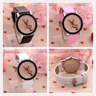 Fashion Elegant Women Lovely Cat Spider Watch Kids Black White Pink Wristwatch