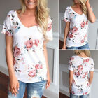 Stylish Women Summer Floral Top Short Sleeve Blouse Ladies Casual Tops T-Shirt Y