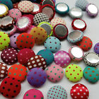 10/50/100pcs Dot Fabric Covered Button Flatback No Hole To Sew Flower Center