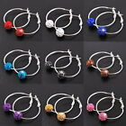 1 Pair Wholesale Fashion Silver Beads Big Round Hoop Women Lady Earrings Jewelry