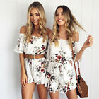 Fashion Women Off Shoulder Summer Floral Casual Dress Jumpsuit Beach Rompers