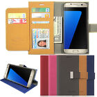 Double Card Flip book leather wallet Case Cover for Galaxy S8 / iPhone 7 / LG