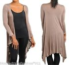 Mocha/Khaki Long Sleeve Scarf/Wrap Drape Front Tunic Cardigan/Cover-Up S M L