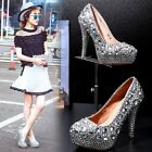 Womens Luxurious Rhinestones Bride wedding Shoes Block High Heels Dress Shoes