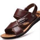 Men's Leather Flat Open-toed Sandals Casual Beach Non-slip Sports Slipper Shoes