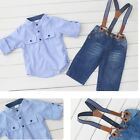Baby Boys Kids Children Shirt Suspender Jeans Pants Suit Outfits Set B20E