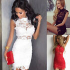 New Womens Bodycon Slim Evening Cocktail Party Sleeveless Lace Floral Mini Dress
