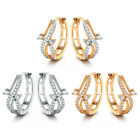 HUCHE Music Note Hollow Silver Gold Filled Clear Sapphire Crystal Women Earrings