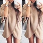 2017 Lady Turtleneck Long Sleeve Knitted Pullover Loose Sweater Jumper Knitwear