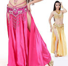 Shining Satin Long Skirt Swing Belly Dance Costumes 2 Slits Dress 18 Colors
