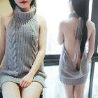 Womens Sleeveless Backless Virgin Killer Cosplay Sweater Knit Pullover Jumpers