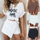 Fashion Women High Waist A-Line Asymmetric Plaids Bandage Pencil Skirt Shorts