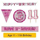 AGE 11 - Happy 11th Birthday PINK GLITZ - Party Balloons, Banners & Decorations