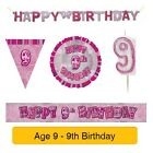 AGE 9 - Happy 9th Birthday PINK GLITZ - Party Balloons, Banners & Decorations