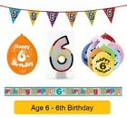 AGE 6 - Happy 6th Birthday Party Banners, Balloons & Decorations