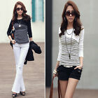 2017 New Fashion Striped Long Sleeve Tops Womens Slim Shirt Cotton Casual Blouse