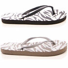 LADIES WOMENS SUMMER HOLIDAY FLIP FLOP ZEBRA PRINT CASUAL BEACH STYLE SHOES SIZE