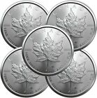 Lot of 5 - 2021 1 oz Canadian 9999 Silver Maple Leaf Coin Uncirculated IN STOCK
