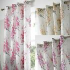 TOKYO FLORAL BLOSSOM LINED EYELET CURTAINS FLORAL TREE READY MADE RING TOP PAIRS