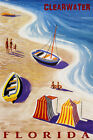 CLEARWATER FLORIDA BEACH FAMILY FUN SAILBOAT SUMMER TRAVEL VINTAGE POSTER REPRO
