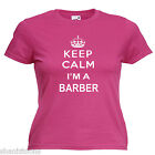 Keep Calm Barber Ladies Lady Fit T Shirt Size 6 -16