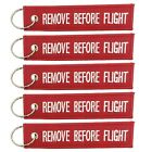 Red 'Remove Before Flight' Keychain Key Ring Luggage Tag Label for Aviation Fans