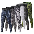 Men's Sports Stretch Leggings Long Johns Camouflage Tight Underwear Long Pants