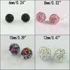 CZ Crystal Round Disco Ball Sliver Stud Earrings 6mm 8mm 10mm 12mm