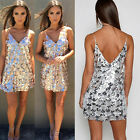 Womens Backless V-Neck Sequin Dress Lady Evening Party Cocktail Short Mini Dress