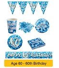 AGE 60/60th Birthday BLUE SPARKLE Birthday Party Range - Tableware Banners Decs