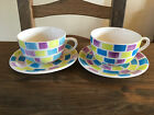 Pair of large WHITTARD OF CHELSEA Abstract Jumbo Breakfast cups and saucers.