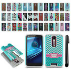 For Motorola Droid Turbo 2 Kinzie XT1585 Hybrid Bumper Shockproof Case + Pen