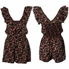 Womens Black Rock & Religion Floral V Neck Playsuit Frill Ruffle Shorts Top 8-14