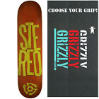 STEREO Skateboard Deck STACKED LOGO RED/GREEN 7.75 with GRIZZLY GRIPTAPE image