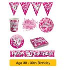 AGE 30/30th Birthday PINK SPARKLE Birthday Party Range - Tableware Banners Decs