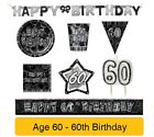 AGE 60 - 60th Birthday BLACK & SILVER GLITZ - Party Balloons,Banners&Decorations