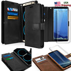 For Galaxy Note 10 9 S8 S9+ S10+ Leather Dual Shockproof Wallet Curve Glass Case